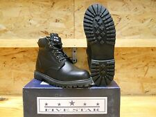 MENS WORK BOOTS, BLACK LEATHER, WATER RESISTANT UPPERS, OIL RESISTANT OUTSOLES