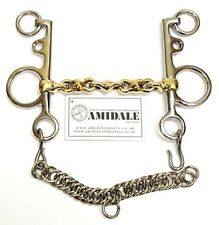 WATERFORD PELHAM LOZENGE CHAIN COPPER MIX GERMAN SILVER HORSE BIT AMIDALE BNWT
