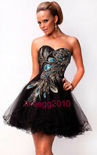 Short Black Peacock Wedding Bridesmaid Cocktail Prom Party Dresses US Size 4-14
