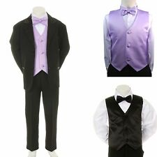 New Baby Boy Formal Wedding Party Black Suit Tuxedo + Lilac Vest Bow Tie sz S-4T