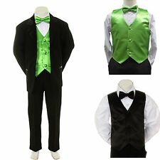 New Baby Boy Formal Wedding Party Black Suit Tuxedo + Lime Vest Bow Tie Set S-4T