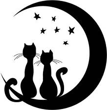 "Two Cats Sitting on Moon w/ Stars | Vinyl Wall Sticker Decal 16""x16"" [Animal 19]"