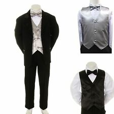 New Baby Boy Formal Wedding Party Black Suit Tuxedo + Silver Vest Bow Tie S-4T