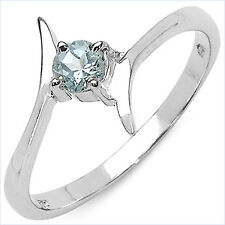 925 Sterling Silver Ring Decorated with Genuine Aquamarine