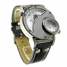 OULM Black White Russian Army Military Dual Time Mens Leather Wrist Watch
