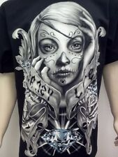 CALI DIAMOND MENS T-SHIRT FREE SHIPPING DAY OF THE DEAD SIZE MED,LG,XL,2X,3X,4X