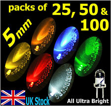 5mm LED  Packs 25, 50, 100 Ultra Bright  White Blue Red Yellow Orange Green - UK