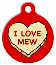 I LOVE MEW CANDY HEART - Custom Personalized Pet ID Tag for Dog and Cat Collars