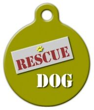 RESCUE DOG - Custom Personalized Pet ID Tag for Dog and Cat Collars