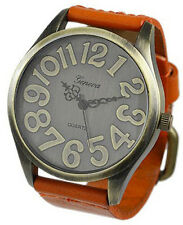 Geneva Platinum Large Number Vintage Bronze Watch