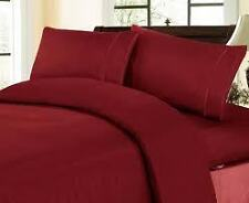 Sale 1000TC 100%Cotton Complete UK Bedding Collection Burgundy Solid Choose Item