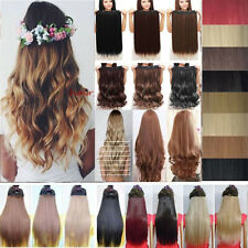 Real Thick Hair Piece 3/4 Full Head Clip In Hair Extensions Long Brown Black k43