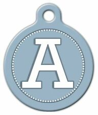 BLUE GREY MONOGRAM A -Z - Custom Personalized Pet ID Tag for Dog and Cat Collars