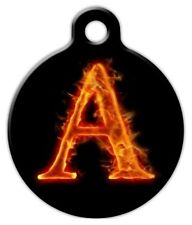FIRE MONOGRAM A -Z - Custom Personalized Pet ID Tag for Dog and Cat Collars