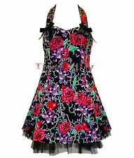 HEARTS & ROSES H&R goth SKULL & RED ROSE MINI DRESS
