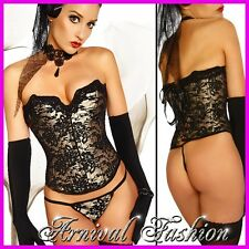 NEW SEXY LACE CORSET + G-STRING set LACE UP BUSTIER LACY TOP hot LINGERIE PANTY