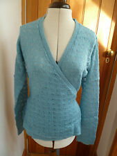 LA REDOUTE WRAP AROUND TURQUOISE LOOSE KNIT CARDIGAN LONG SLEEVES 14 16 NEW