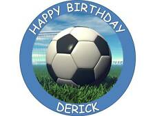 """7.5"""" ROUND FOOTBALL EDIBLE PERSONALISED CAKE TOPPER ON ICING OR WAFER PAPER"""