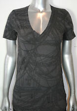 NWT AFFLICTION womens CHASTITY short sleeve Vneck Tee AW2149 black *SMALL