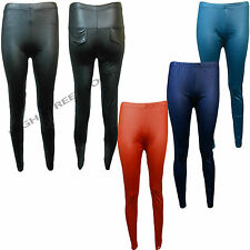 New Womens Ladies American Waisted Disco Shiny Wet Look Leggings PVC Pants 8-14