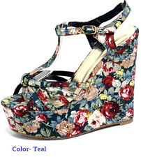 Floral  Open Toe Platform Wedge by Liliana! Comfy, Cute & Perfect  All Year!!
