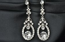 Bridal Bridesmaid Vintage Clear Crystal Gold Silver Teardrop Earrings FREE SHIP
