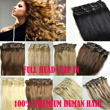 """Clips In on Remy 100% Human Hair Extensions DIY Full/Half Head All Color 15""""-24"""""""