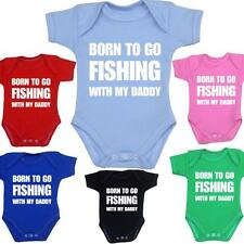 Born FISHING Daddy Dad Gift Bodysuit Vest Slogan Baby Shower Clothes NB - 12mths