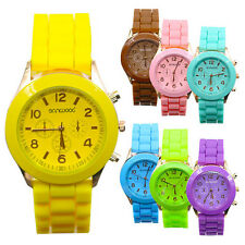 Colorful Womens Mens Sport Silicone Jelly Geneva Quartz Analog Wrist Watch B52U