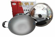 Real Cast Iron Wok with Glass Lid Highest End Finish  With Lowest Price Good 4 U