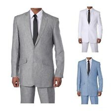 Milano Moda Men's Luxurious Two Button Linen Suit 612L Solid White Blue Gray
