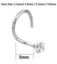 14K 22G Solid White Gold Nose Screw Ring Round Cubic Zirconia 1.5mm or 2.5mm Gem