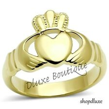 Women's 14k Gold Plated Irish Claddagh Promise Friendship Band Ring Size 5-10