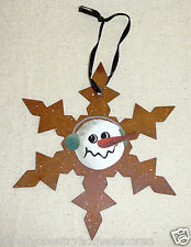 SNOWMAN SNOWFLAKE ORNAMENTS~Rustic~Handpainted~Designs Vary~NEW~FREE SHIP