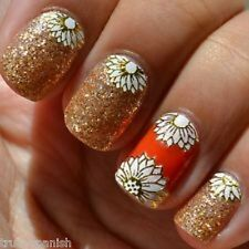 Nail Art Lace Stickers Decals Vintage Flowers Roses Nail Art White Metallic Gold