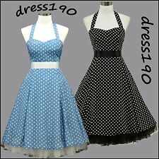 dress190 POLKA DOT 50s CHIFFON HALTER ROCKABILLY SWING COCKTAIL PROM PARTY DRESS