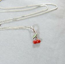 925 Sterling Silver Necklace Cherry Pendant For Children Handcrafted Thai Silver