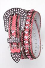 Western Cowgirl LEATHER Belt (Pink) BLING Crystal Rhinestones S M L Rodeo