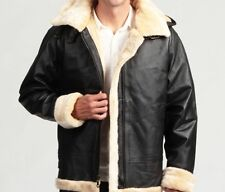 Genuine Leather Shearling Bomber Jacket, removable hood, lined with faux fur, B3
