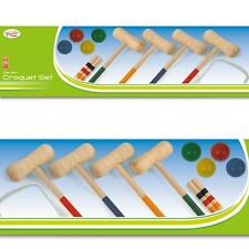 NEW 4 PLAYER COMPLETE WOODEN GARDEN CROQUET SET OUTDOOR FUN ACTIVITIES GAMES
