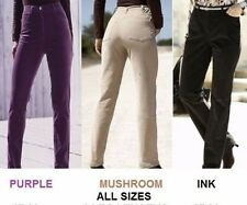 LADIES PURPLE BEIGE INK BLACK BOOTCUT OR STRAIGHT LEG STRETCH MICRO CORDS JEANS