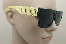 Retro Trendy Flat Top Chunky Metal Chain Link Celebrity Style Fashion Sunglasses