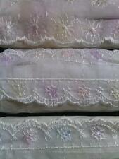"""9 + Y white 4 tone organza embroidered scalloped lace trim 1 3/4"""" SHIP FROM USA"""