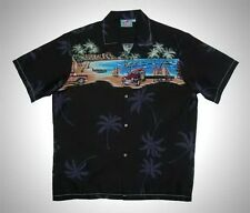 Hawaiian Cotton Beach Surfboard Woody car Aloha Men Black shirt-M,L,XL,2XL,3XL
