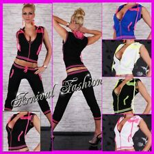 NEW sexy 2 PIECE TRACK SUIT SETS FOR women ACTIVE WEAR JOGGING GYM WORKOUT YOGA