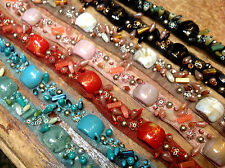 """DESIGNER TRIM 3/4"""" Metal Sequins Beads TULLE NETTING Hand Sewn 1yd"""