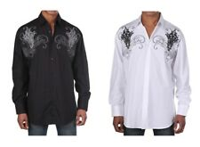 Men's Western Long Sleeve Casual Embroidered Cotton Shirt #42 Black White & Red