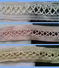 "1 yard of pure white baby pink or beige double lip cord lattice trim 1 1/4 ""w"