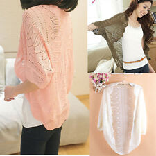 womens batwing sleeve knitwear crochet knitted sweater top cardigan coat size L