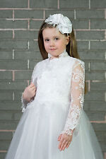 Flower Girls Wedding Communion White or Ivory Lace Bolero Jacket 2-13yrs (K-106)